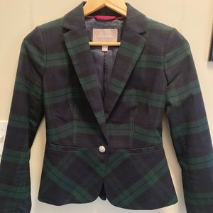 Banana Republic Black Watch Plaid Fitted Blazer